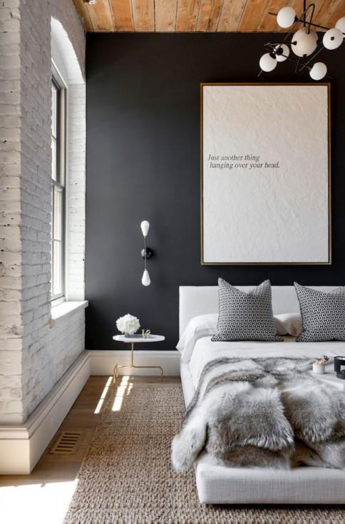 Des murs de couleur dans une chambre mariekke - Chambre mur gris ...