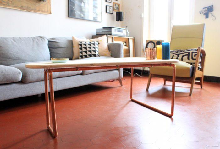 tuto DIY table basse en cuivre et bois