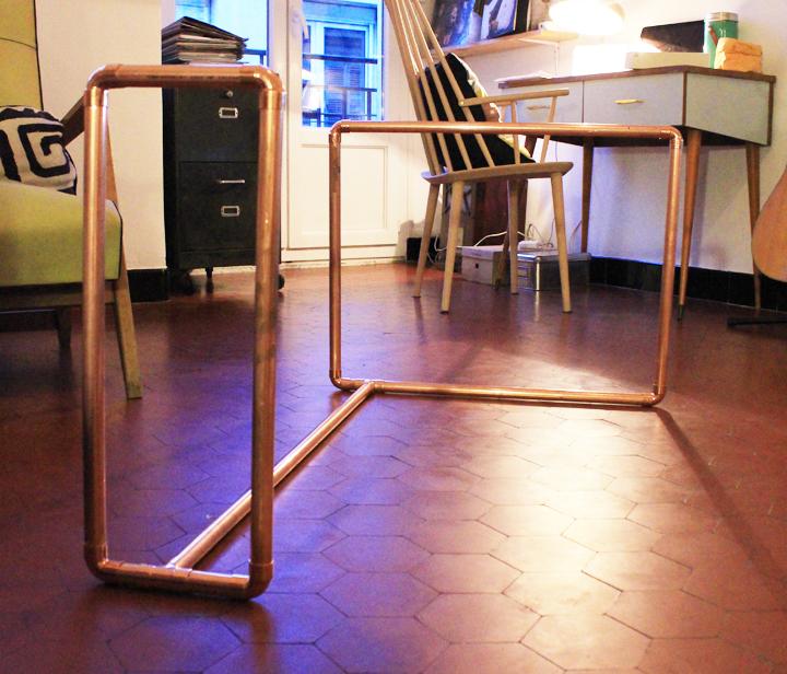 Une table basse cuivre et bois mariekke - Pietement de table basse ...