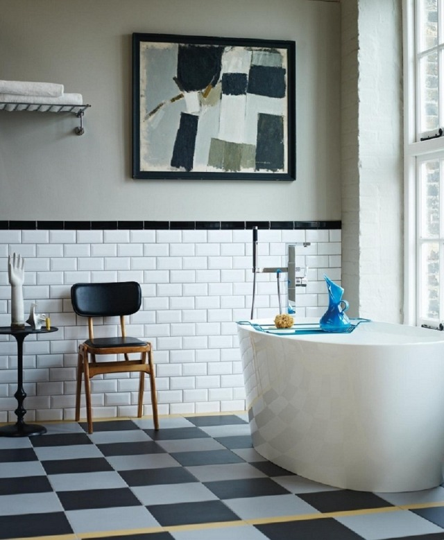 Relooker une salle de bains mariekke for Faience salle de bain petit carreaux