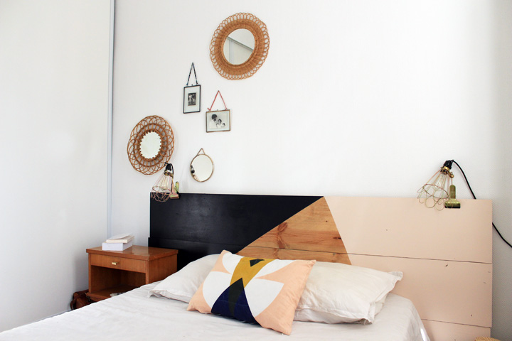 tuto pour une t te de lit graphique mariekke. Black Bedroom Furniture Sets. Home Design Ideas