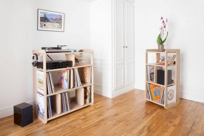 le meuble peut accueillir jusqu 800 vinyles tout de mme et pour couronner le tout vous avez aussi le choix entre 3 essences de bois diffrentes